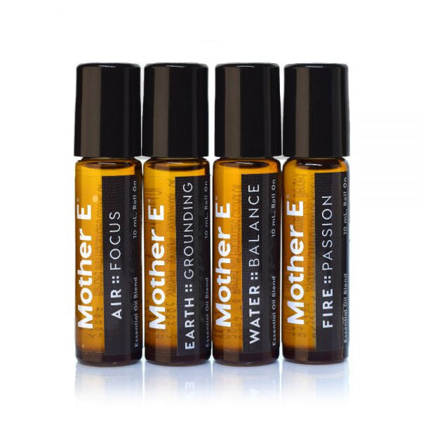 Mother E The Elements Collection Essential Oils Blends, AIR::FOCUS, EARTH::GROUNDING, WATER::BALANCE, and FIRE::PASSION, roll-on bottles