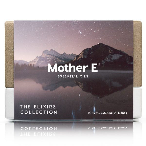 Mother E The Elixirs Collection Essential Oils Blends box of standard bottles