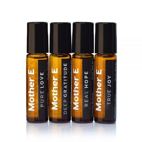 Mother E The Enhancers Collection Essential Oils Blends, PURE LOVE, DEEP GRATITUDE, REAL HOPE, AND TRUE JOY, roll-on bottles