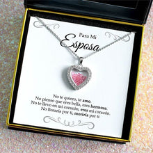 "Load image into Gallery viewer, ""Para Mi Esposa, Te Amo"" Shimmering Heart Pink Crystal Shaker Necklace Gift Set"