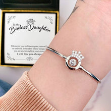 "Load image into Gallery viewer, ""To My Badass Daughter"" Luxe Crown Bangle Bracelet Gift Set"