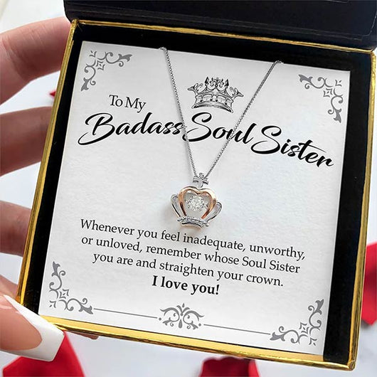 """To My Badass Soul Sister"" Luxe Crown Necklace Gift Set"