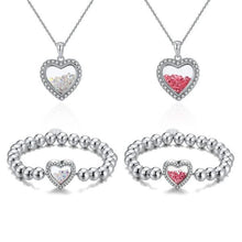 Load image into Gallery viewer, Shimmering Heart Crystal Shaker Bracelet and Necklace Set