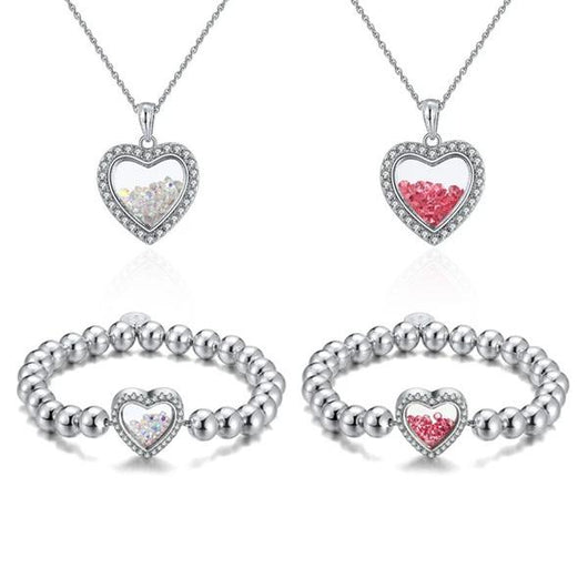 Shimmering Heart Crystal Shaker Bracelet and Necklace Set