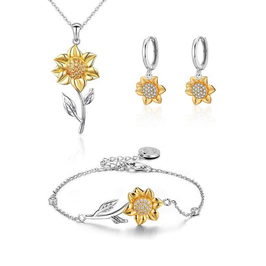Golden Sunflower Sterling Silver Gift Set
