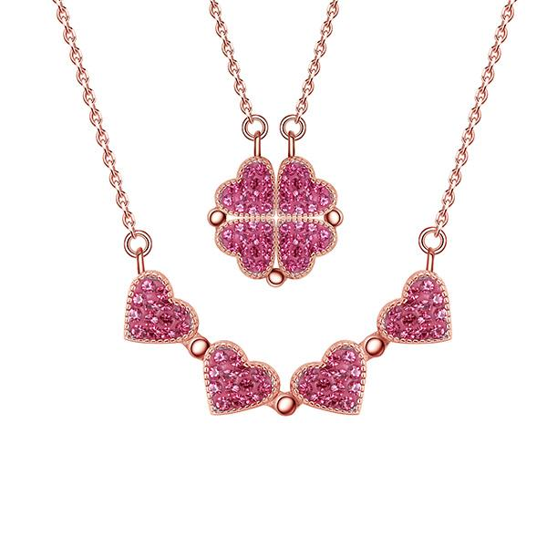 ROSE GOLD MAGNETIC CLOVER HEARTS NECKLACE