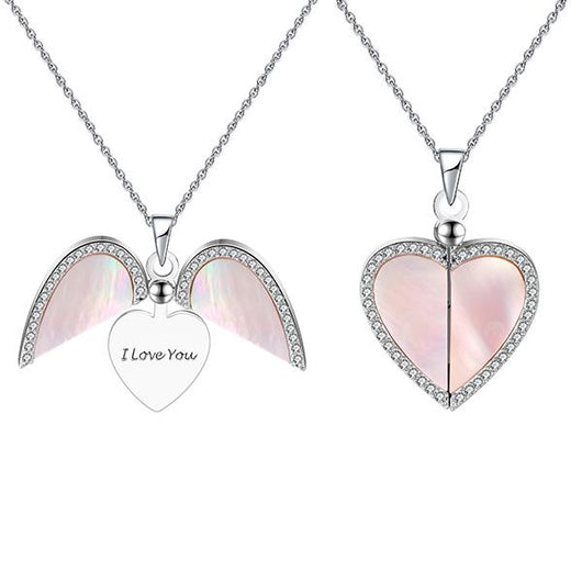 """I Love You"" Pink Satin Heart Pendant Necklace"