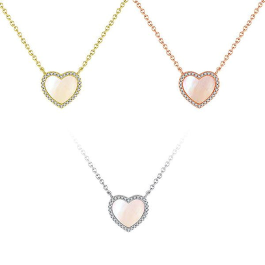 Pink Satin Pave Sweetheart Necklace