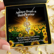 "Load image into Gallery viewer, ""Advice From A Sunflower"" Golden Sunflower Pendant Necklace"