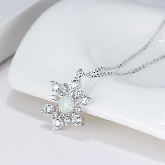 Irridescent Opal Sterling Silver Snowflake Pendant Necklace