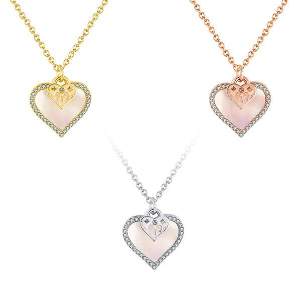 Pink Satin Pave Heart Charm Necklace