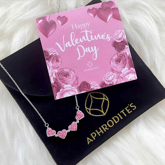 """Happy Valentine's Day"" Pink Magnetic Clover Hearts Necklace Velvet Pouch Gift Set"