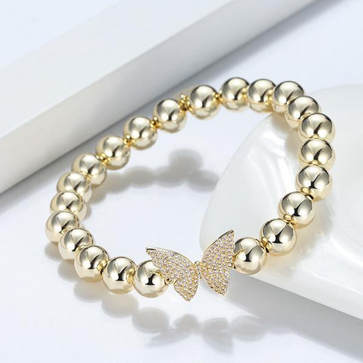 GLITZ AND GLAM PAVE BUTTERFLY BEADED BRACELET