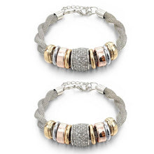 Load image into Gallery viewer, 2 Sets of Entwined Silver Metal Bracelet