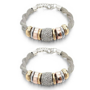 2 Sets of Entwined Silver Metal Bracelet