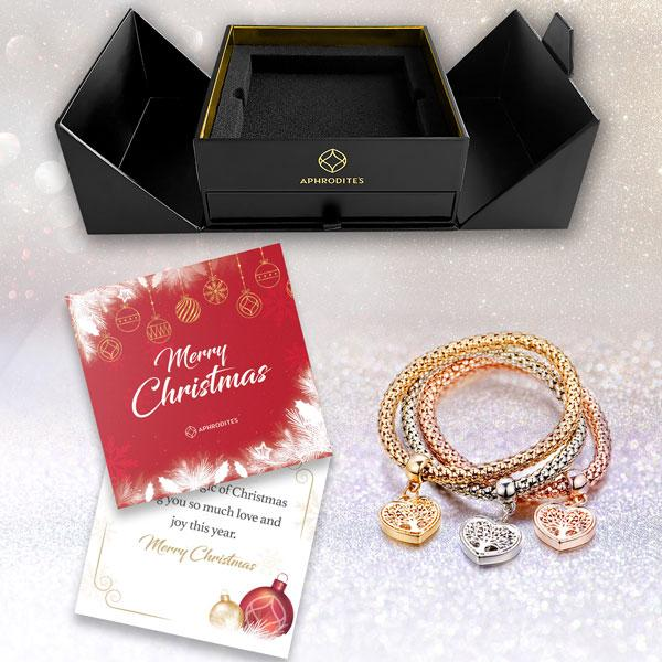Magic in a Box - Tree of Life Heart Edition Charm Bracelets Gift Set with Exclusive Display Stand and Aphrodites Holiday Gift Card