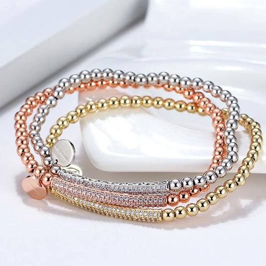 GLITZ AND GLAM PAVE BAR BEADED BRACELET - SMALL