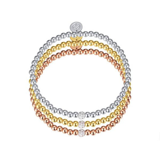 Glitz and Glam Pave Stackable Beaded Bracelet - Small