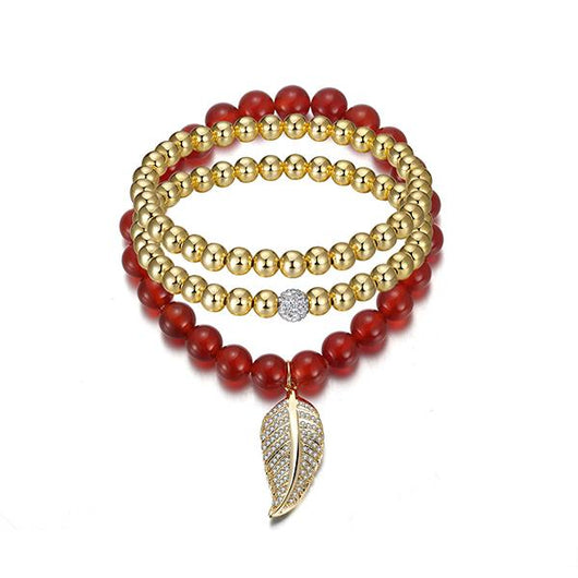 Sparkling Leaf Golden Bracelet Set