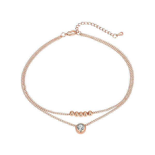 DOUBLE LAYER ROSE GOLD CRYSTAL ANKLET