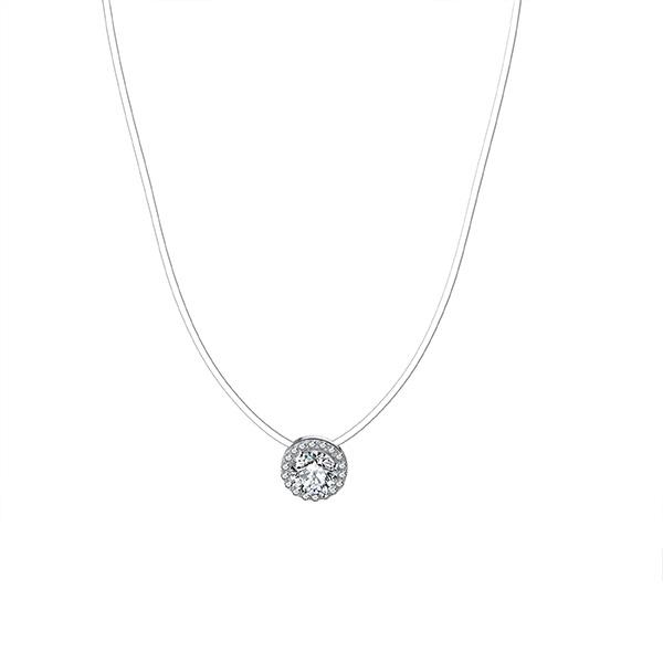Spellbound Solitaire Halo Necklace