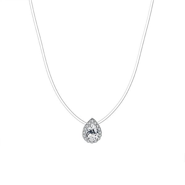 Spellbound Sterling Silver Pear Halo Necklace