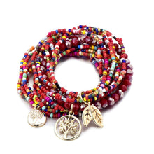Load image into Gallery viewer, 3 Sets of Tree of Life Boho Beads Layered Bracelets