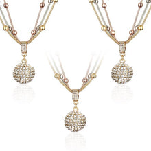 Load image into Gallery viewer, 3 Sets of Gold Ball Necklace with Rhinestone Pendant - Necklace