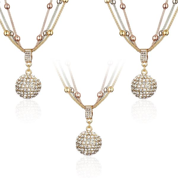 3 Sets of Gold Ball Necklace with Rhinestone Pendant - Necklace