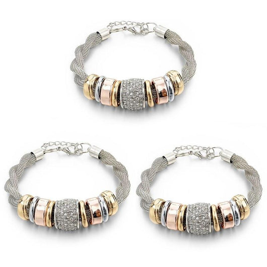 3 Sets of Entwined Silver Metal Bracelet Bundle Offer