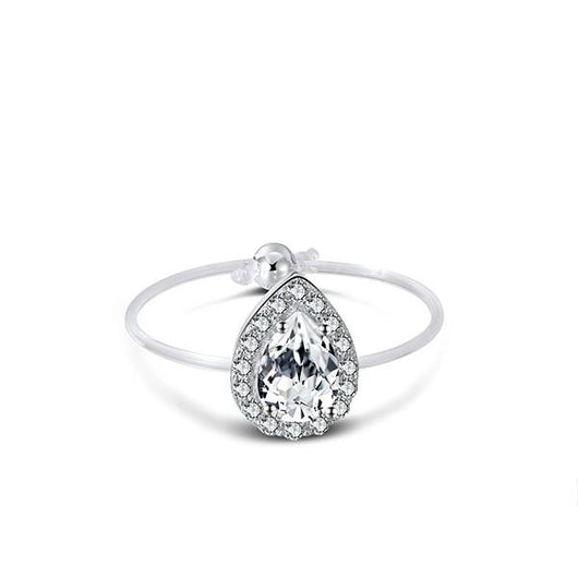Spellbound Sterling Silver Pear Cut Halo Ring