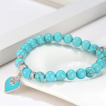 Load image into Gallery viewer, Turquoise Heart Beaded Bracelet