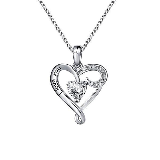 "2 Sets of ""I Love You"" Heart Crystal Necklace"