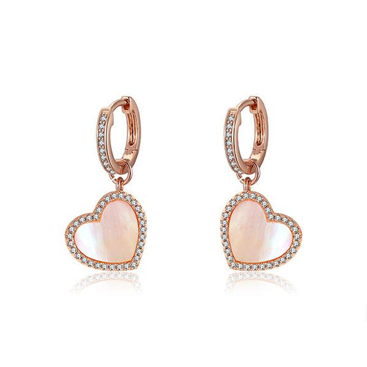 PINK SATIN PAVE HEART MINI HOOP EARRINGS