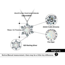 Load image into Gallery viewer, Irridescent Opal Sterling Silver Snowflake Pendant Necklace