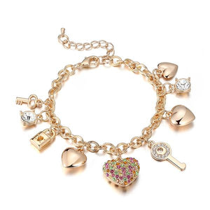 """TROPIC CRYSTALS"" LOVE LOCKED CHARM BRACELET"