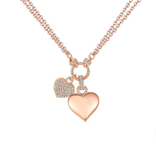 Glitz and Love Duo Hearts Pendant Necklace