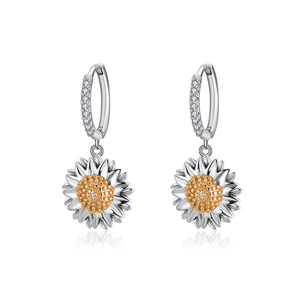 Brilliant Sunflower Pave Mini Hoop Earrings