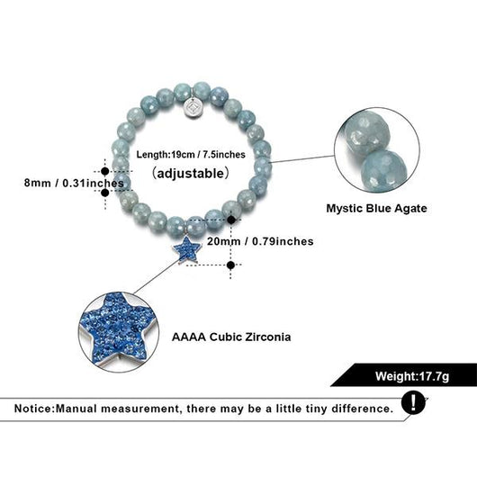 Mystic Blue Star Beaded Charm Bracelet