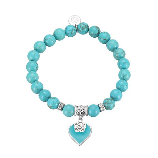 Turquoise Heart Beaded Bracelet