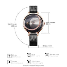 Load image into Gallery viewer, Selene Tri-tone Rose Gold Black Mesh Band Watch