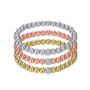 GLITZ AND GLAM PAVE STACKABLE BEADED BRACELET - MEDIUM