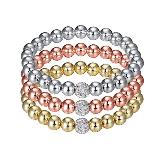 Glitz and Glam Pave Stackable Beaded Bracelet - Large