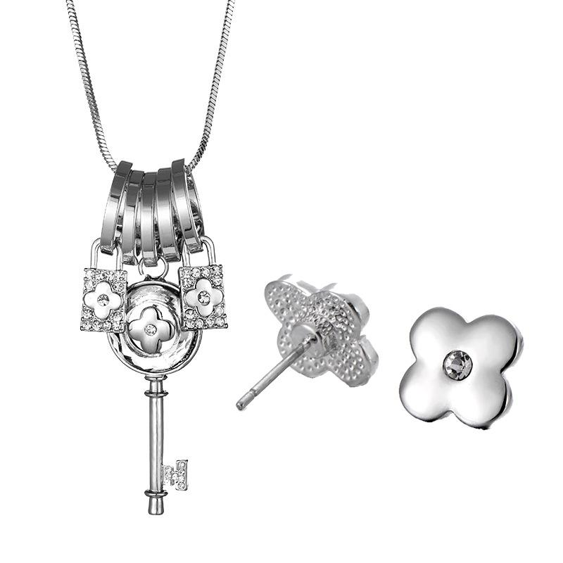 Clover Lock & Key Necklace and Earrings Set