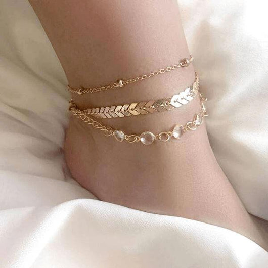 Chevron and Crystals Anklet Set - Mother's Day Edition