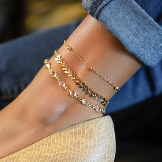 Chevron and Crystals Anklet Set - 3pcs