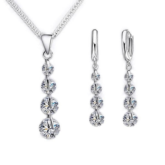 Classic Sparkle Crystal Necklace & Earrings Set