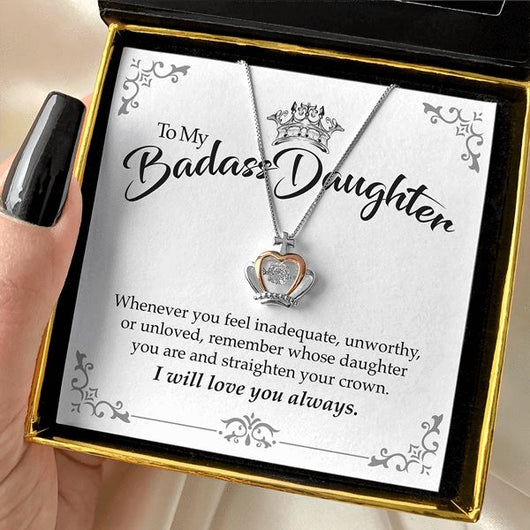 To My Badass Daughter Luxe Crown Necklace Gift Set