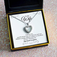 "Load image into Gallery viewer, ""To My Wife, I Choose You"" Shimmering Heart Aurora Crystal Necklace Gift Set"