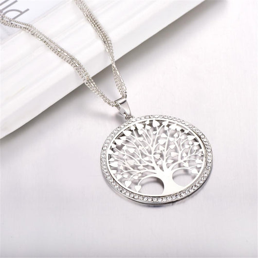 """Tree of Life"" Pendant Necklace with Rhinestones & Crystals"